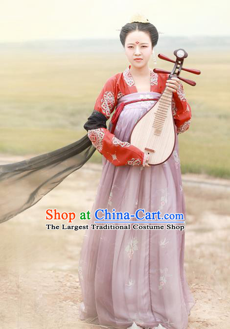 Chinese Ancient Las Meninas Hanfu Dress Tang Dynasty Princess Embroidered Costumes for Women