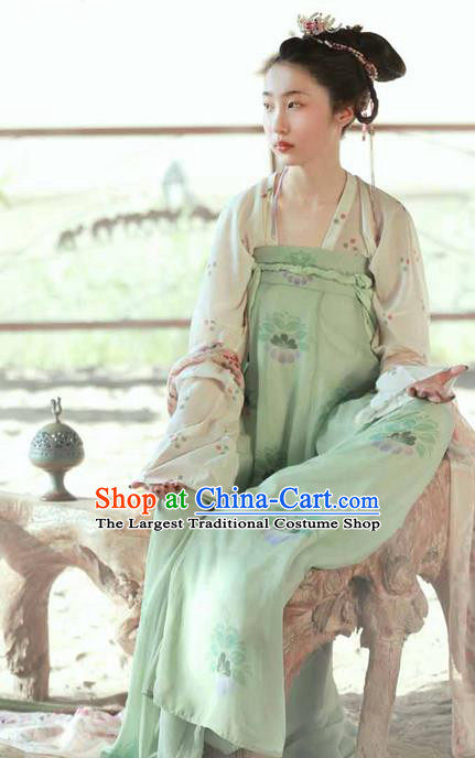 Chinese Ancient Princess Green Hanfu Dress Tang Dynasty Palace Embroidered Costumes for Women