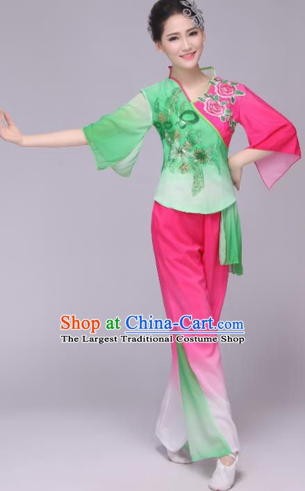 Chinese Traditional Classical Dance Costumes Folk Dance Yanko Fan Dance Clothing for Women