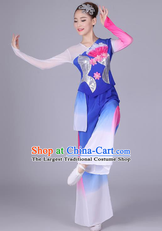 Chinese Traditional Classical Dance Costumes Folk Dance Yanko Fan Dance Royalblue Clothing for Women