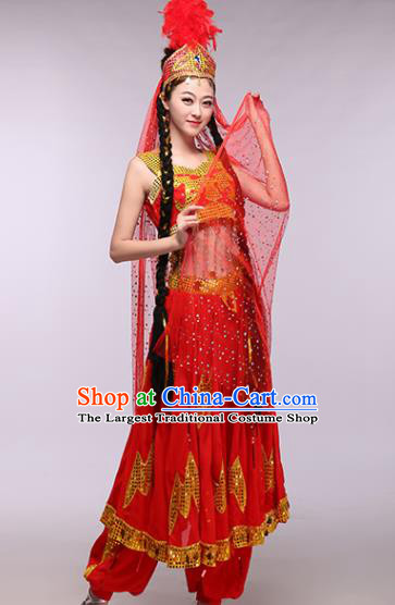Chinese Traditional Uigurian Ethnic Costumes Uyghur Nationality Folk Dance Red Dress for Women