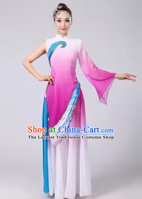 Chinese Traditional Classical Dance Costumes Folk Dance Fan Dance Purple Clothing for Women
