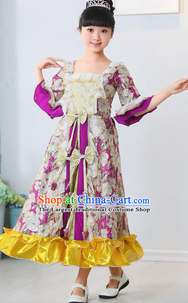 Top Grade European Classical Dance Costumes Court Dance Purple Full Dress for Kids