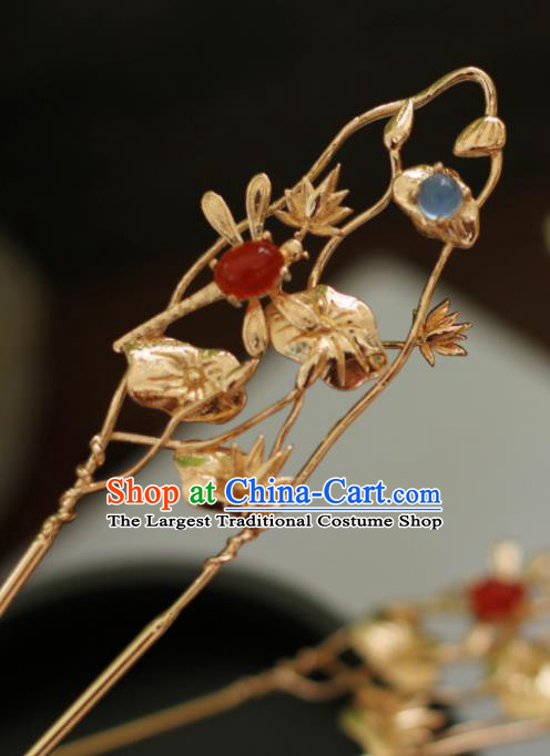 Chinese Traditional Handmade Hair Accessories Ancient Lotus Hairpins Headwear for Women