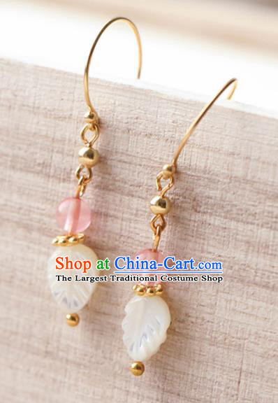 Traditional Chinese Earrings Ancient Handmade Palace Lady Shell Leaf Ear Accessories for Women