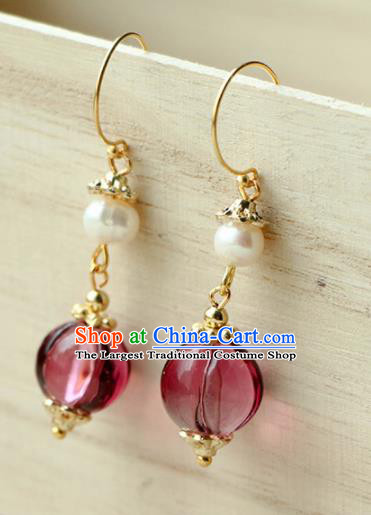 Traditional Chinese Earrings Ancient Handmade Palace Lady Purple Bead Ear Accessories for Women