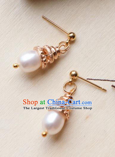 Traditional Chinese Earrings Ancient Handmade Palace Lady Pearl Ear Accessories for Women