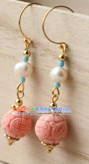 Traditional Chinese Earrings Ancient Handmade Palace Lady Pink Bead Ear Accessories for Women