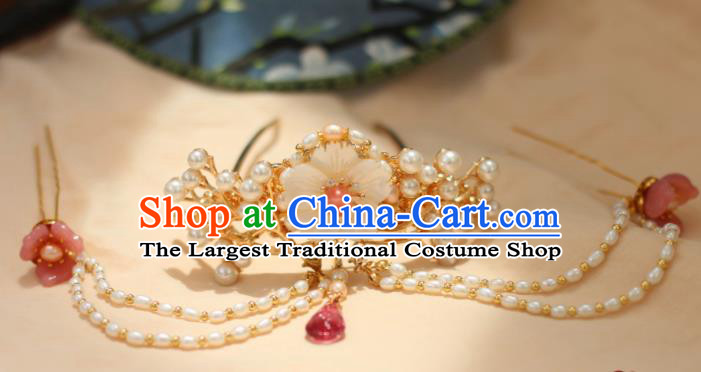 Chinese Traditional Handmade Hair Accessories Ancient Pearls Hair Crown Hairpins Headwear for Women