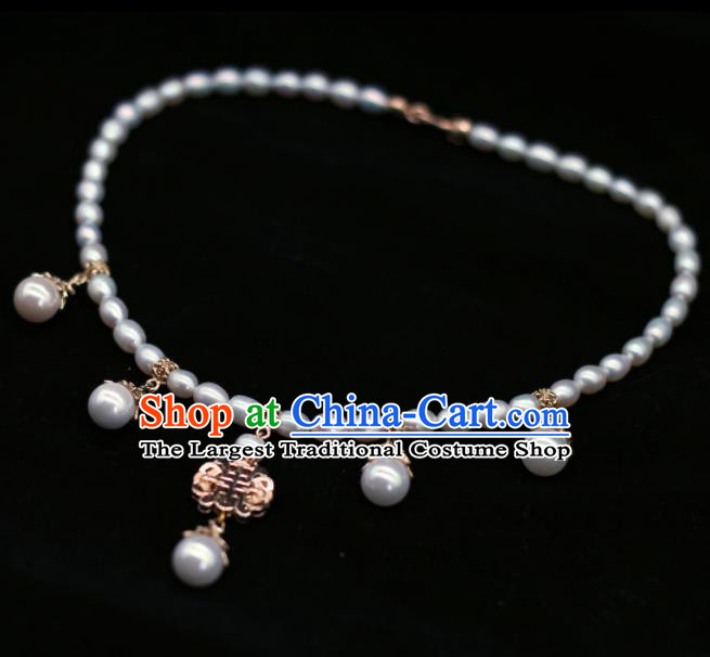 Traditional Chinese Handmade Pearls Necklace Ancient Palace Lady Necklet Accessories for Women