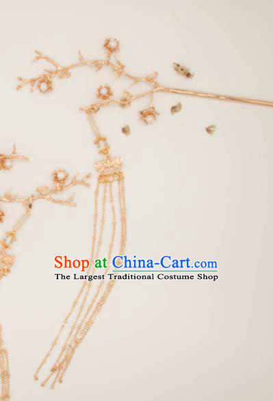 Chinese Traditional Handmade Hair Accessories Ancient Golden Plum Blossom Hairpins for Women