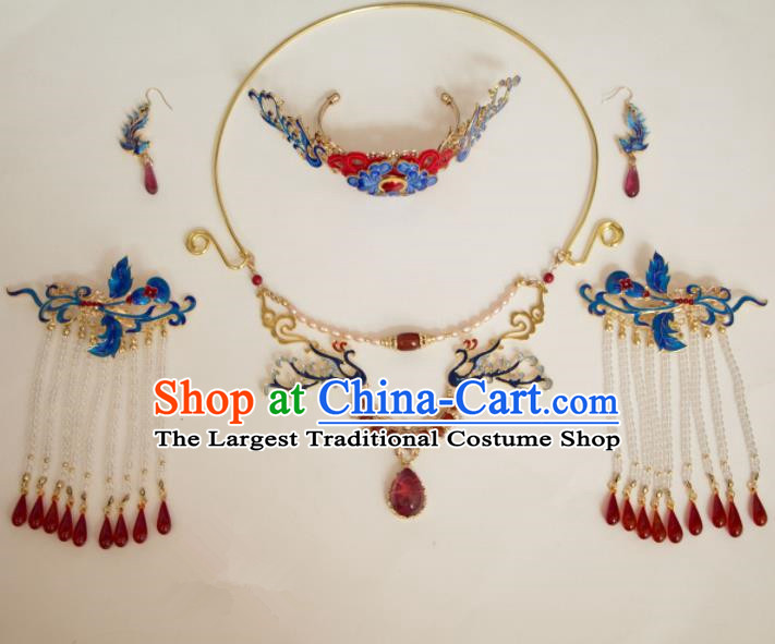 Chinese Traditional Handmade Blueing Hair Accessories Ancient Hairpins Necklace Complete Set for Women