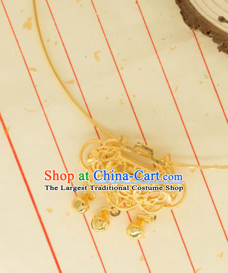 Traditional Chinese Handmade Necklace Ancient Palace Lady Golden Longevity Lock Accessories for Women