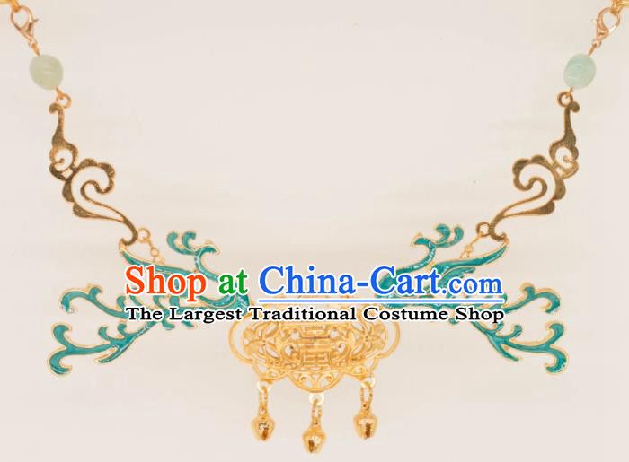 Traditional Chinese Handmade Necklace Ancient Longevity Lock Accessories for Women