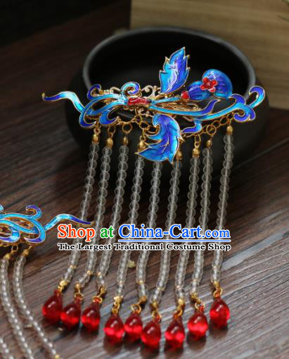 Chinese Traditional Handmade Blueing Hair Sticks Hair Accessories Ancient Tassel Hairpins for Women
