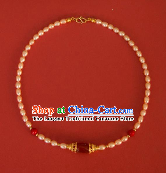 Traditional Chinese Handmade Pearls Necklace Ancient Agate Necklet Accessories for Women
