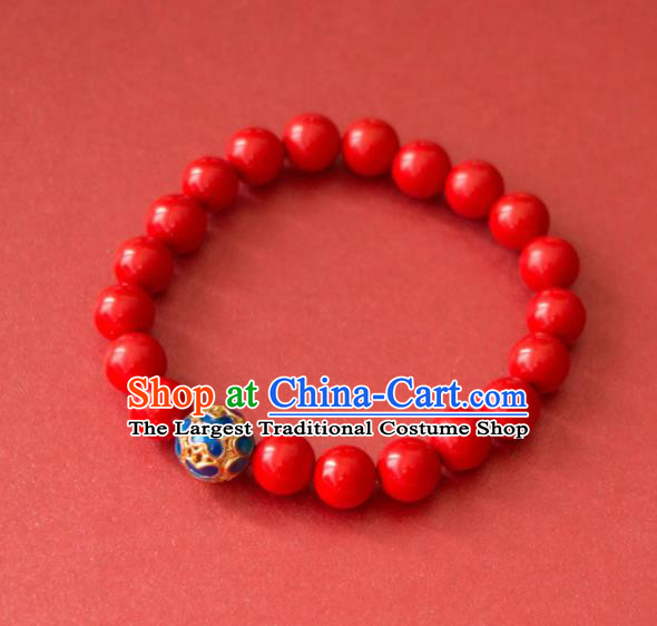 Traditional Chinese Handmade Red Beads Bracelet Ancient Cinnabar Bangle Accessories for Women