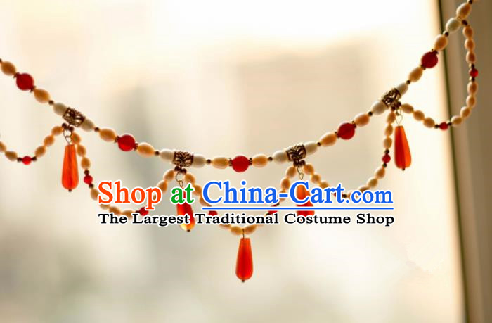 Traditional Chinese Handmade Agate Necklace Ancient Pearls Necklet Accessories for Women