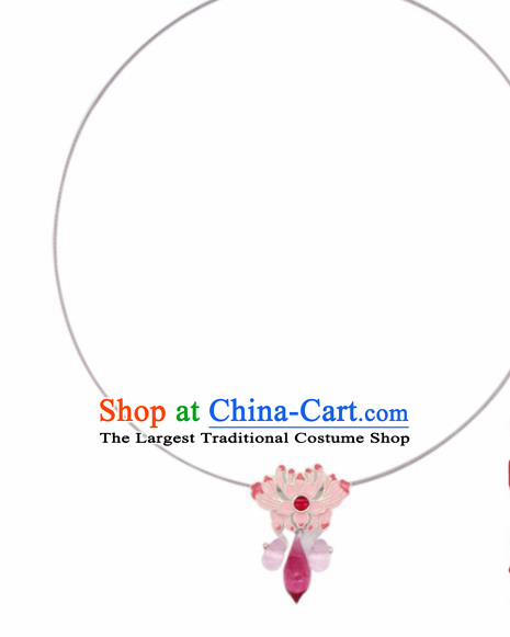 Traditional Chinese Handmade Pink Lotus Necklace Ancient Necklet Accessories for Women