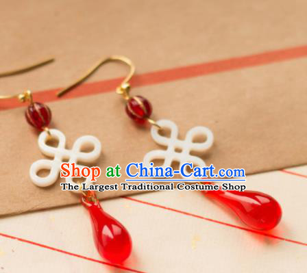 Traditional Chinese Handmade Red Agate Earrings Ancient Lucky Knot Eardrop Accessories for Women