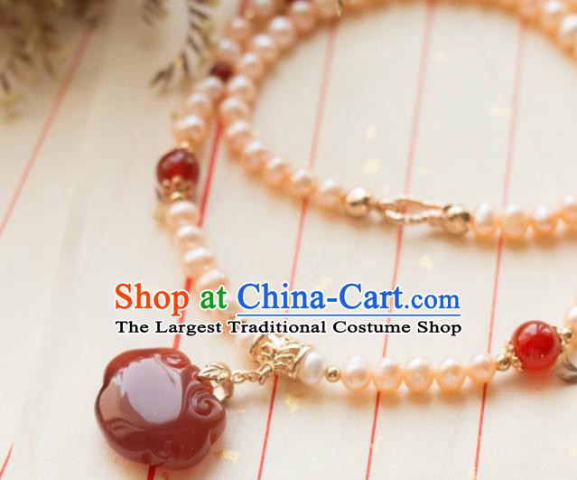 Traditional Chinese Handmade Pearls Necklace Ancient Necklet Accessories for Women