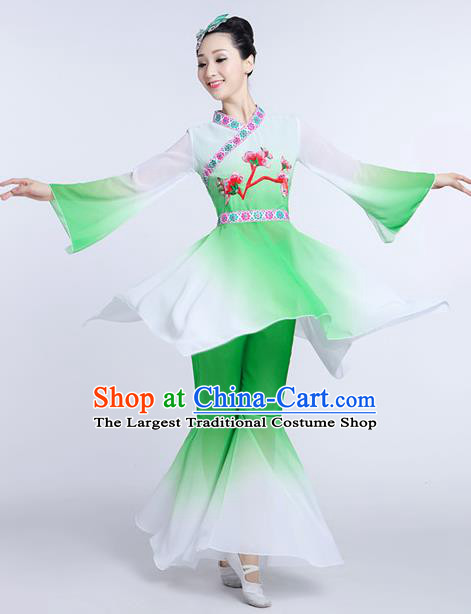 Chinese Traditional Classical Dance Costumes Folk Dance Yanko Fan Dance Green Clothing for Women
