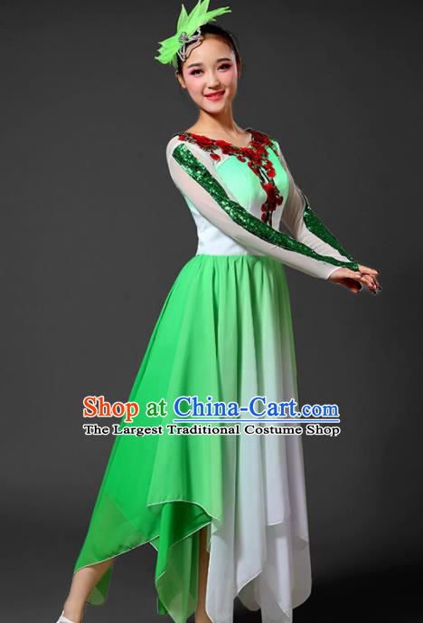 Chinese Traditional Classical Dance Costumes Folk Dance Umbrella Dance Green Dress for Women