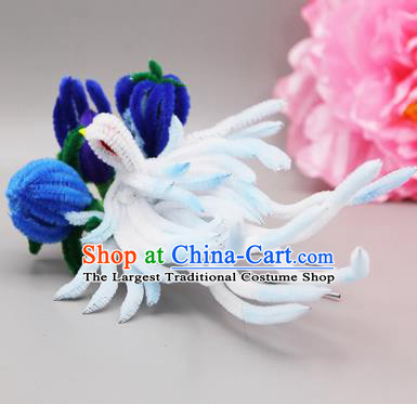 Chinese Traditional Handmade Hair Accessories Ancient Qing Dynasty Queen Velvet Flower Hairpins for Women