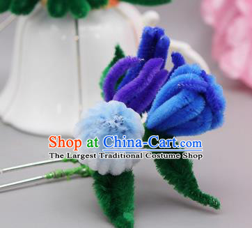 Chinese Traditional Handmade Hair Accessories Ancient Qing Dynasty Velvet Flower Hairpins for Women
