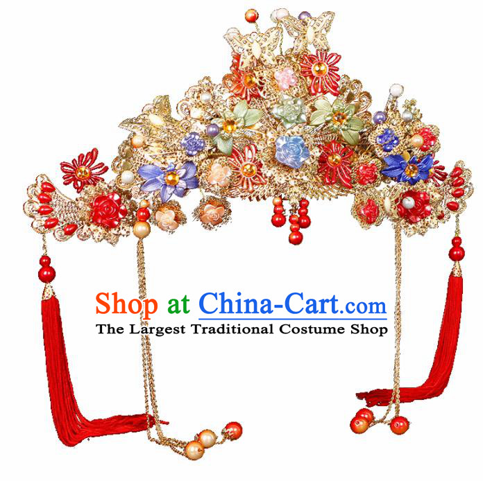 Chinese Traditional Handmade Hair Accessories Ancient Wedding Bride Phoenix Coronet Hairpins for Women