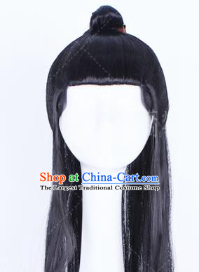 Traditional Chinese Drama Peruke Handmade Wigs Ancient Swordsman Chignon for Men