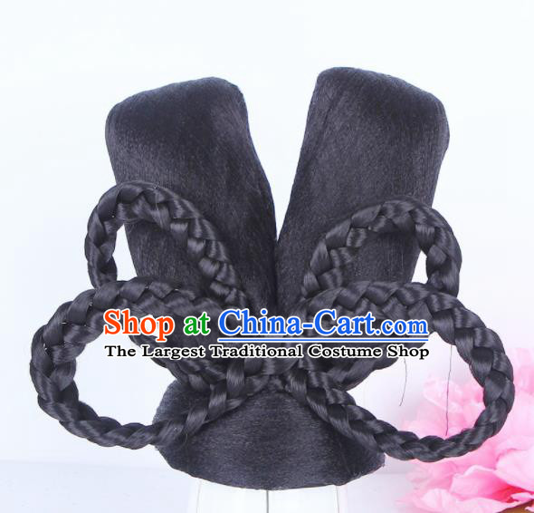 Traditional Chinese Palace Lady Handmade Wigs Sheath Hair Accessories Ancient Peri Chignon for Women