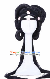 Traditional Chinese Tang Dynasty Princess Handmade Wigs Sheath Hair Accessories Ancient Peri Chignon for Women