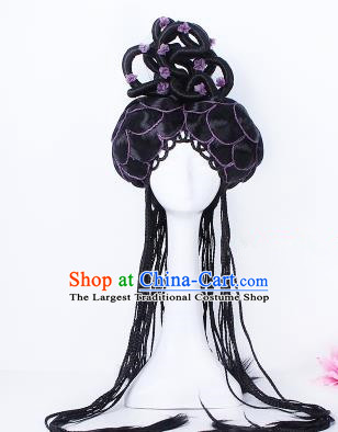 Traditional Chinese Drama Tang Dynasty Princess Wigs Sheath Ancient Peri Handmade Chignon Hair Accessories for Women