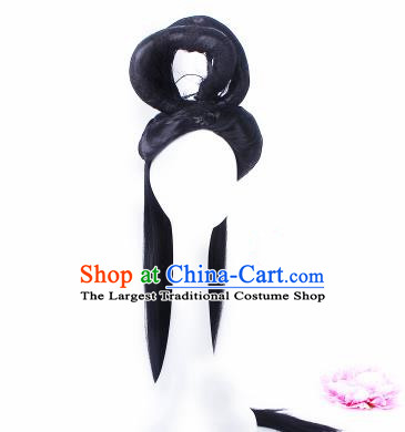 Traditional Chinese Drama Court Maid Wigs Sheath Ancient Peri Handmade Chignon Hair Accessories for Women