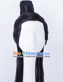 Traditional Chinese Drama Swordsman Peruke Handmade Wigs Ancient Prince Chignon for Men