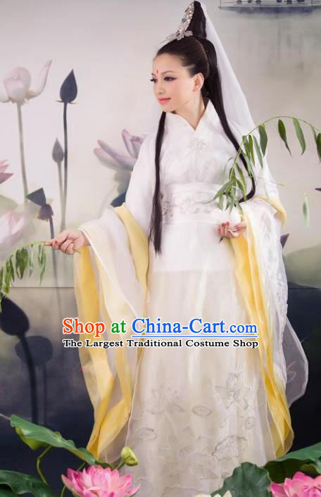 Traditional Chinese Ancient Goddess Matsu Costumes Cosplay Arya Avalokiteshvara Hanfu Dress and Headpiece for Women