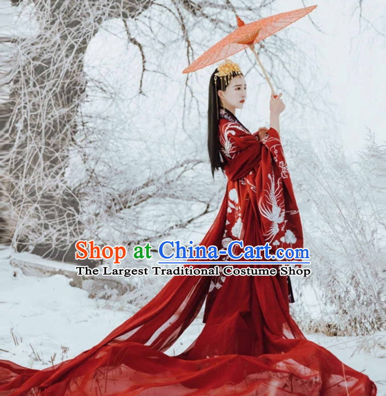 Red Classical Asian Ancient Beauty Han Zhuang Clothing Complete Set