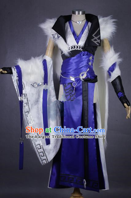Asian Chinese Cosplay Blades Costumes Ancient Swordswoman Dress Clothing for Women