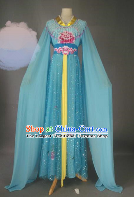 Chinese Traditional Peking Opera Princess Blue Costumes Ancient Fairy Dress for Adults