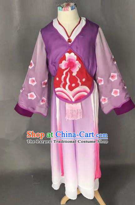 Chinese Traditional Peking Opera Maidservants Purple Costumes Ancient Mui Tsai Dress for Adults