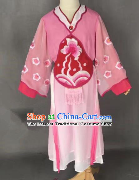 Chinese Traditional Peking Opera Maidservants Pink Costumes Ancient Mui Tsai Dress for Adults