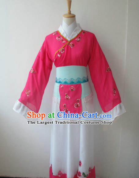 Chinese Traditional Peking Opera Maidservants Costumes Ancient Mui Tsai Rosy Dress for Adults