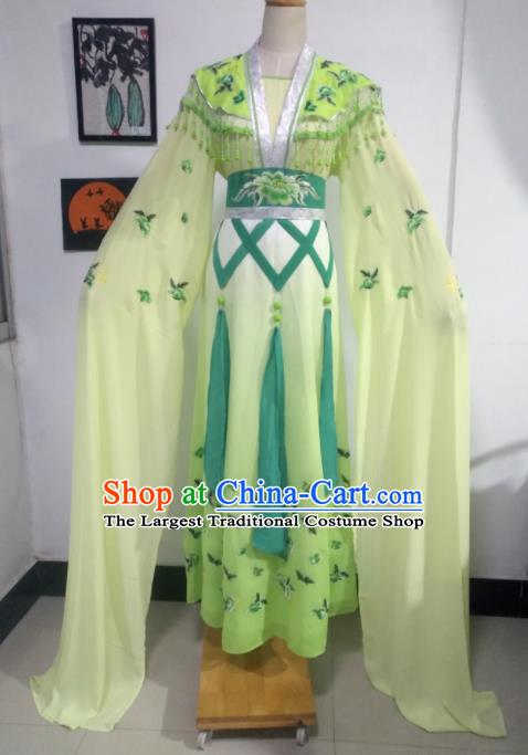 Chinese Traditional Peking Opera Costumes Ancient Nobility Lady Light Green Dress for Adults