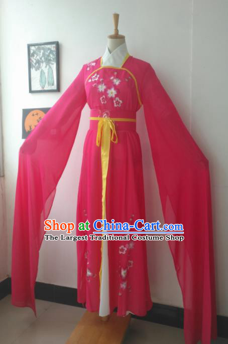 Chinese Traditional Peking Opera Costumes Ancient Maidservants Rosy Dress for Adults