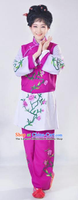 Chinese Traditional Peking Opera Mui Tsai Purple Costumes Ancient Young Lady Dress for Adults