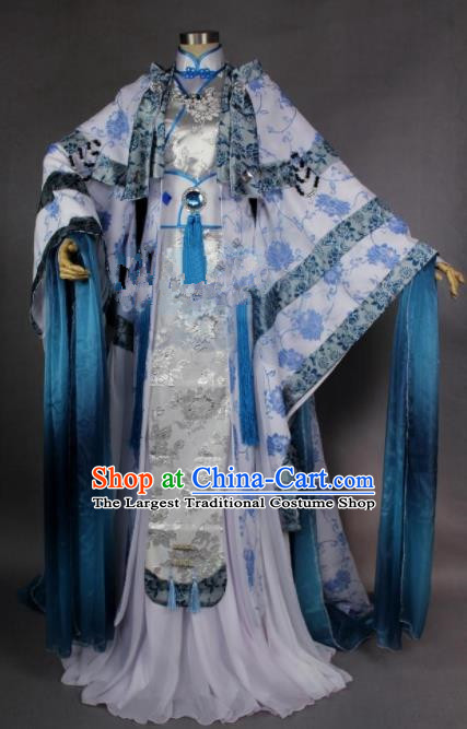 Asian Chinese Cosplay Princess Costumes Ancient Swordswoman Dress Clothing for Women