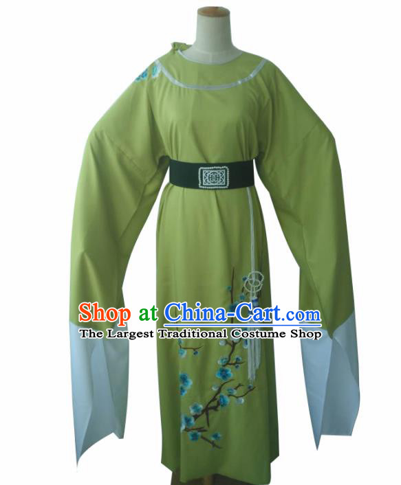 Chinese Traditional Peking Opera Niche Costume Ancient Scholar Green Robe for Adults