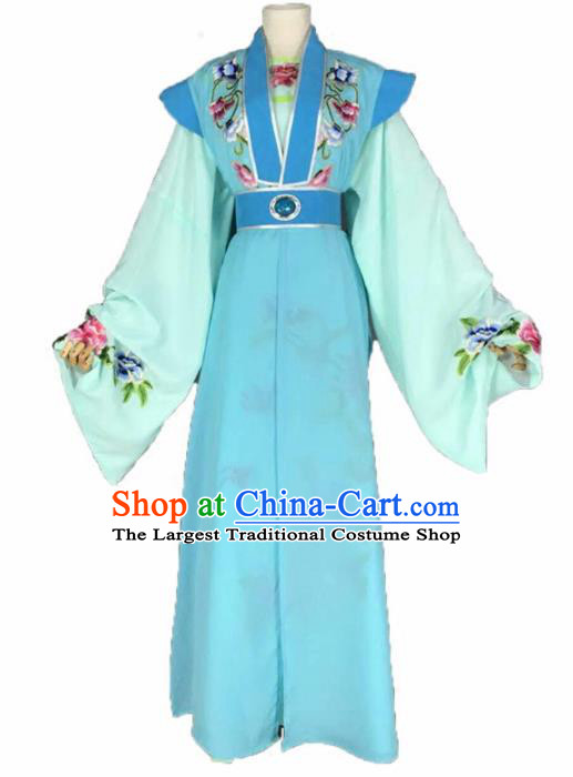 Chinese Traditional Peking Opera Niche Costume Ancient Scholar Blue Clothing for Adults