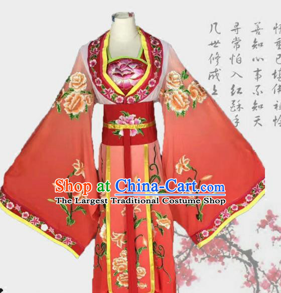 Chinese Traditional Peking Opera Actress Costumes Ancient Palace Princess Red Dress for Adults